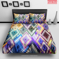 The Diamond Geometric Galaxy Bedding Sets Home Gift Home & Living Wedding Gifts Wedding Idea Twin Full Queen King Quilt Cover Duvet Cover Flat Sheet Pillowcase Pillow Cover 070