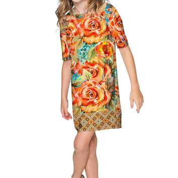 Fox Grace Catchy Floral Fall Sleeved Shift Dress - Girls