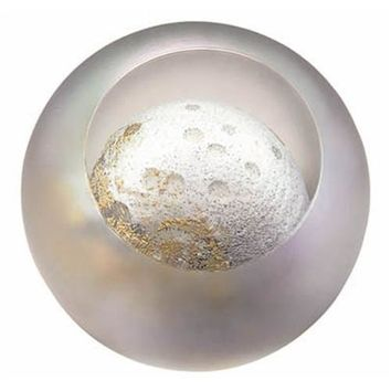 Moon Cancer Sphere Celestial Hand Blown Glass Paperweight 3H