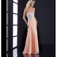 Peach Beaded Bodice Strapless Open Back Dress