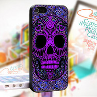 Sugar Skull Pattern Painting - JDC127TB - iPhone 4 / 4S - iPhone 5 Case - Black / White / Clear