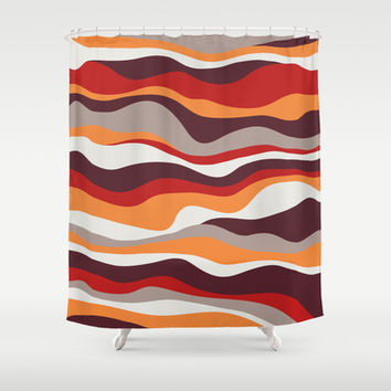 Cordillera Stripe: Red, Orange Combo Shower Curtain by Eileen Paulino