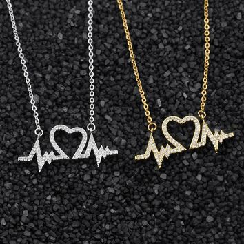 ECG Medical Stethoscope CZ Heartbeat Necklace Crystal Jewelry I Love You Heart Necklaces for Women Nurse/Doctor Collier Femme