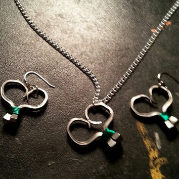 Green wire wrapped horseshoe nail heart necklace, earrings, or necklace and earrings set jewelry