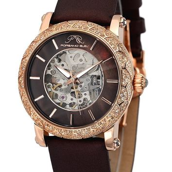 Porsamo Bleu Liza Satin Covered Genuine Leather Women's Topaz Skeleton Watch