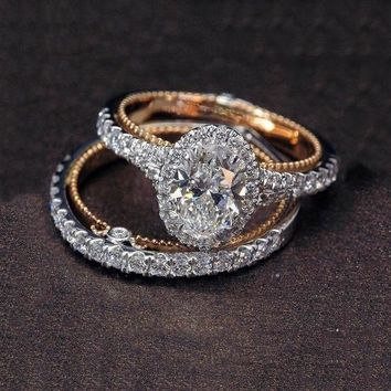 925 Silver Ring Set Luxury Oval White Sapphire Dual 14K Solid Rose Gold Diamond Jewelry Bridal Engagement Bridal Wed