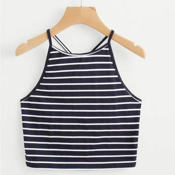 Short Cropped Crop Top Sleeveless Navy T-Shirt Backless Tops