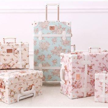 "Women Floral Pu Leather Travel Suitcases 20"" - 26"" with Spinner Wheels for Girls"