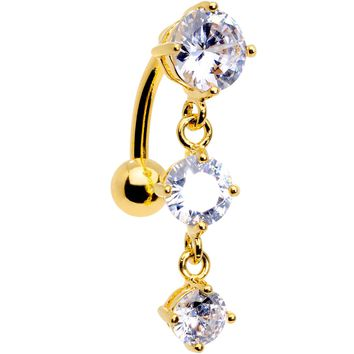 Clear CZ Gem Gold Plated Trio Tier Top Mount Dangle Belly Ring
