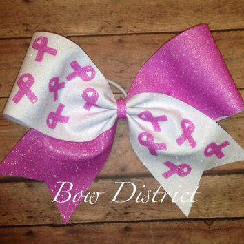 "3"" Breast Cancer Awareness Pink and White Cheer Bow"
