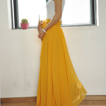 Beautiful Bow Tie Chiffon Maxi Skirt Silk Skirts Yellow Elastic Waist Summer Skirt Floor Length Long Skirt (037)