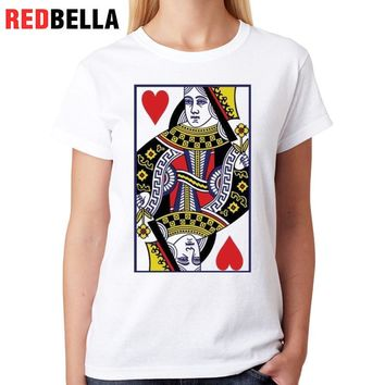 REDBELLA Spoof Queen Woman Tshirt Top Heart Poker Artistic Cool Tumblr Clothing Printed Cotton Polera Mujer O-Neck Fashion Tees