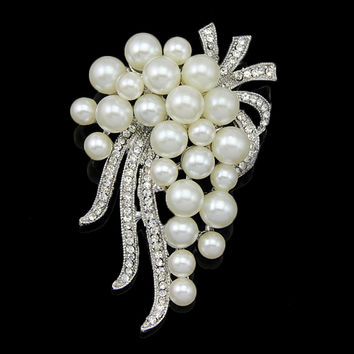Long Simulated Pearl Brooch Large Brooches for Party Wedding Bridal Invitation Scarf Shawl Dress