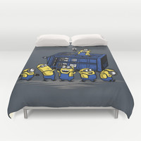 The Minions Have The Phone Box Duvet Cover by Onebluebird