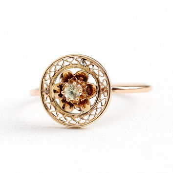 Yellow Sapphire Ring - Vintage Antique 10k Rosy Yellow Gold Flower - Size 6 1/2 Edwardian Early 1900s Fine Stick Pin Conversion Jewelry
