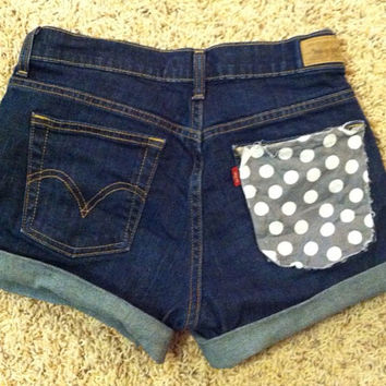Grey polka dot patterned high waisted shorts by paxtonsmith