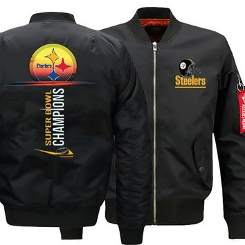 Pittsburgh Steelers Bomber Jacket |Flight Bomber Jacket |Men's Winter Thicken Coats (3 Colors)
