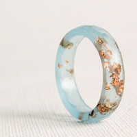 sky blue thin multifaceted eco resin ring - size 7.5 - featuring copper flakes