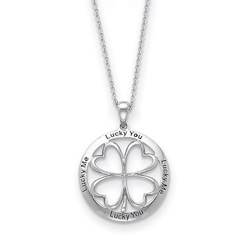Sterling Silver & CZ Lucky Me, Lucky You, Friendship Necklace, 18 Inch