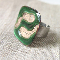 Enamel statement cocktail ring green emerald silver adjustable winter fashion artisan OOAK by Alery