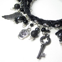 Cassiel Angel Gothic Charm Bracelet, Silver Name, Spiritual Jewelry, Black Wing, Sugar Skull