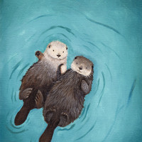 Otterly Romantic - Otters Holding Hands Stretched Canvas by When Guinea Pigs Fly
