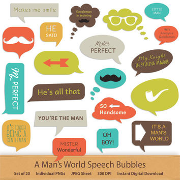 Hipster Digital Speech Bubbles Digital Bubble Clipart Father Boy Gentleman Man Clip Art Speech Callouts Word Art Stickers Labels Frames Tags