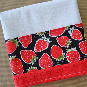 Flour Sack Towel - Kitchen Towel - Lint Free Tea Towels - Fabric Trimmed Towel - Decorative Embellished Towel - Dish Towel - Strawberries