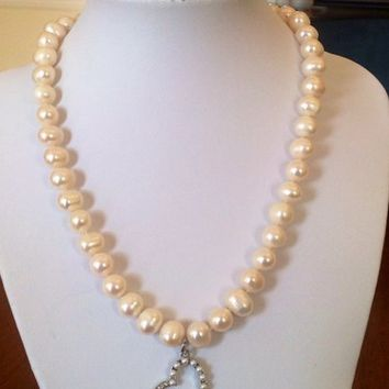 White Freshwater Pearl Heart Charm June Cleaver Inspired Necklace