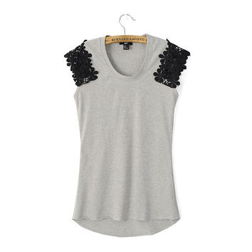 Stylish Women's Fashion Lace Stretch Slim Short Sleeve Tops T-shirts [5013421764]