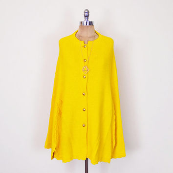 Mustard Yellow Sweater Cape Knit Sweater Knit Cape Knit Poncho Sweater Jacket 70s Cape 70s Poncho 70s Hippie Cape Hippie Poncho Hippy S M L