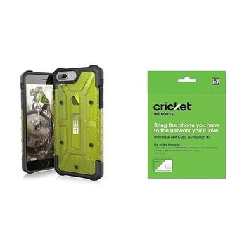 DCCKRQ5 UAG iPhone 8 Plus / iPhone 7 Plus / iPhone 6s Plus [5.5-inch screen] Plasma Feather-Light Rugged [CITRON] Military Drop Tested iPhone Case and Cricket Wireless BYOD Prepaid SIM Card