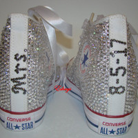 Clear Sparkly Mrs. High Top Converse Chuck Wedges