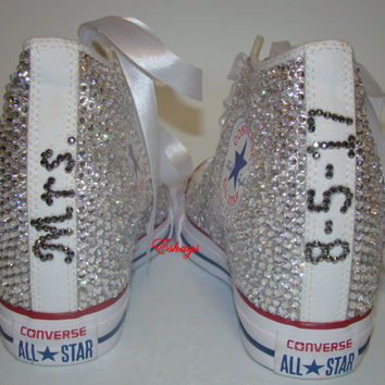 Clear Sparkly Mrs. High Top Converse Chucks