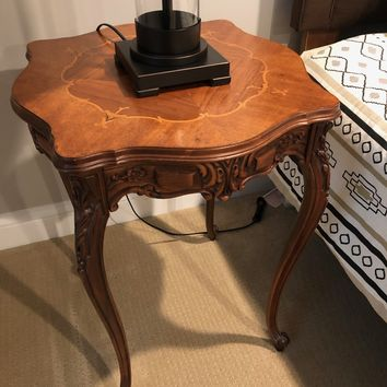 Antique Pair of Carved Wooden End Tables