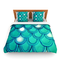 "Theresa Giolzetti ""Mermaid Tail"" Teal Blue Fleece Duvet Cover"