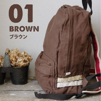 Cotton washed canvas shoulder bag unstamped wind simple solid color bag men schoolbags