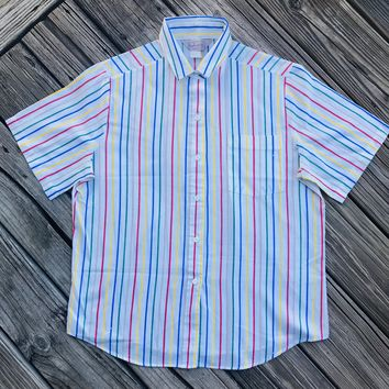 HARBOR ISLE Vintage 1980's Women's Size 10 Bright Striped Button Down Shirt