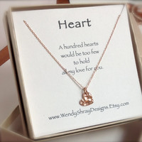 Heart necklace, rose gold hammered heart, rose gold chain - rose gold jewelry, minimalist, everyday jewelry, Bridesmaid, Maid of Honor