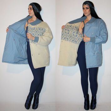 Vintage NORDIC Print Sweater Jacket, REVERSIBLE OVERSIZED Wool Cream + Slate Blue Icelandic Sweater