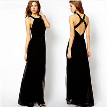 Women's Fashion Slim Backless Chiffon Vest Dress One Piece Dress [4915017540]