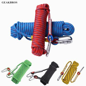 Rock Climbing Rope 10mm Tree Wall Hiking Climbing Equipment Gear Outdoor Survival Fire Escape Safety Rope Carabiner 10m 20m 30m