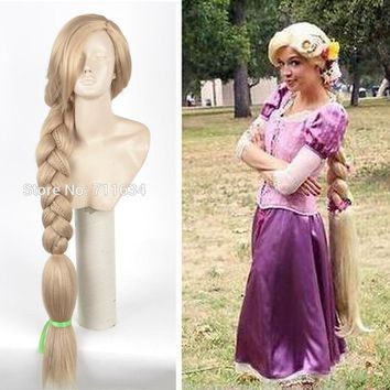 Cool Top Quality 120CM Long Rapunzel Tangled Light Blonde Straight Cosplay Hair big braid for women party Wig + Wig CapAT_93_12