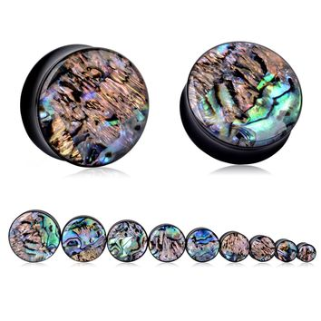 2pcs Punk Acrylic Ear Tunnel Plugs Shellhard Abalone Shell Acrylic Ear Gauges Plugs Body Piercing Jewelry Ear Expander 8mm -25mm