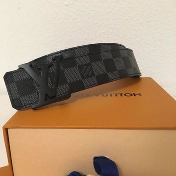 DCCKON LOUIS VUITTON LV INITIALES 40MM DAMIER GRAPHITE BELT SIZE 95