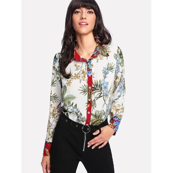 Button Up Botanical Print Shirt