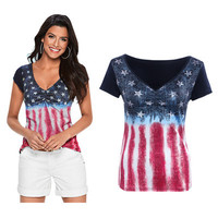 Summer American Flag Printed Top T-Shirt a12342