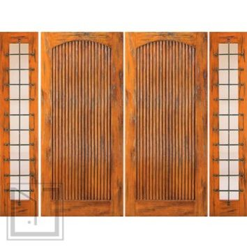 Prehung Double Door with Two Sidelights, Exterior, Knotty Alder