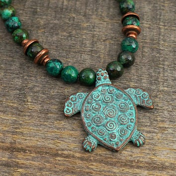 """Spiral turtle necklace, blue green African turquoise beads 19 1/4"""" long 49cm"""