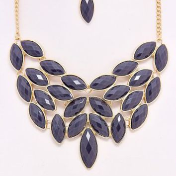 Grey-Chandelier-Leaf-Necklace/Earring-Set